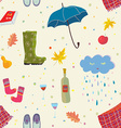 Autumn seamless pattern with cute things vector image vector image