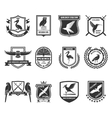 birds emblems black icons collection vector image
