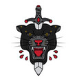black panther head and dagger tattoo vector image vector image