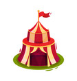 bright red circus tent with flag on top vector image vector image