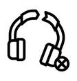 broken earphones icon outline vector image vector image