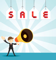 Businessman with Megaphone Announcement Sale vector image vector image