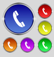 Call icon sign Round symbol on bright colourful vector image vector image