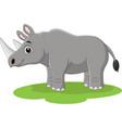 cartoon happy rhino on grass vector image vector image