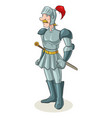 cartoon of an old medieval knight vector image vector image