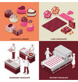 chocolate manufacture 2x2 design concept vector image vector image