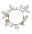 christmas round frame with fir branches and place vector image