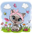 cute cartoon kitten girl on a meadow vector image vector image