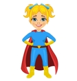 cute little girl dressed as a superhero vector image