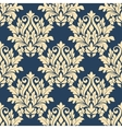 Damask style seamless pattern on blue vector image