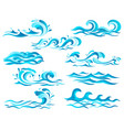 decorative blue sea waves and surf icons vector image