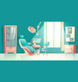 dentist equipped office interior cartoon vector image