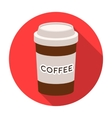 Disposable coffee cup icon in flat style isolated vector image