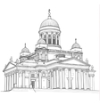 drawing cathedral vector image vector image