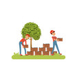 farmers harvesting olives workers carrying wooden vector image vector image