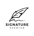 feather pen ink signature logo icon vector image