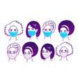 female portraits in medical masks vector image vector image
