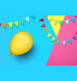 festive background with yellow balloon and flags vector image vector image
