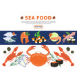 flat sea food icons set vector image vector image