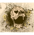 grunge background with skull vector image vector image