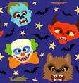 halloween background seamless with cartoon holida vector image vector image