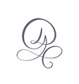 hand drawn calligraphic floral d monogram vector image vector image
