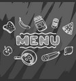 hand drawn menu for cafe with food vector image vector image