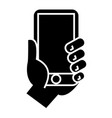 hand holding phone icon vector image vector image