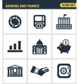 Icons set premium quality of money making banking vector image vector image