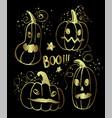 ink hand drawn halloween pumpkin characters vector image
