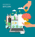 investment in bitcoin flat style design vector image vector image