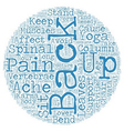 Keep back pain at bay text background wordcloud vector image vector image