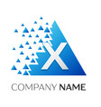 letter x logo symbol on colorful triangle vector image