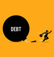 man breaking free from debt by cutting off the vector image vector image