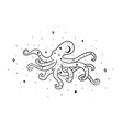 mystical octopus with moon and stars stars vector image