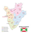 new administrative map burundi with flag vector image vector image