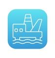 Offshore oil platform line icon vector image vector image