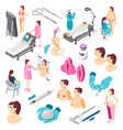 plastic surgery isometric set vector image