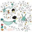 rabbit and birds vector image vector image