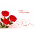 red roses and gift gold hearts vector image vector image