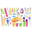 school supplies and stationery learning items set vector image