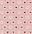Seamless pattern heart of in the hexagon vector image