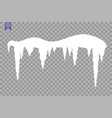 set of snow icicles snow cap isolated on vector image