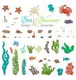 set of underwater sea life design elements vector image vector image