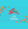 spanish happy easter greeting card bunny paper vector image vector image