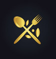 spoon fork food menu organic gold logo vector image