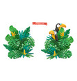 tropical leaves design plasticine art 3d objects vector image vector image
