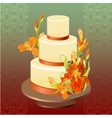Wedding cake with red iris flower design vector image vector image