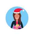 woman red hat face avatar new year merry christmas vector image vector image