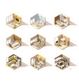 isometric low poly home rooms set vector image